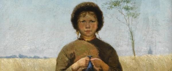 A peasant girl in a field of flowers by David de la Mar